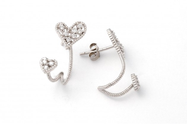Extravagant silver earrings with zircons Hearts