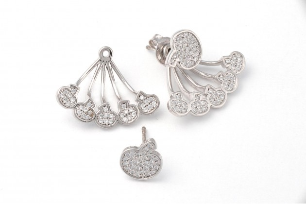 Spectacular silver earrings with zircons Mushrooms
