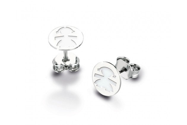 Oval leBebé earrings - white gold