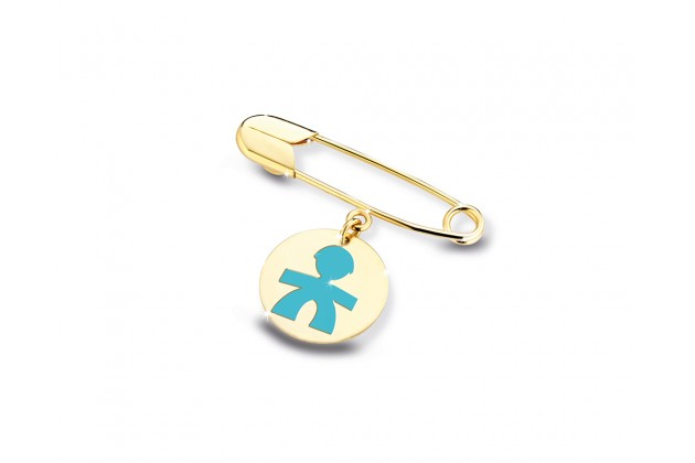 Златна безопасна игла с медальон, Primegioie - бижута от Belissimavip.com