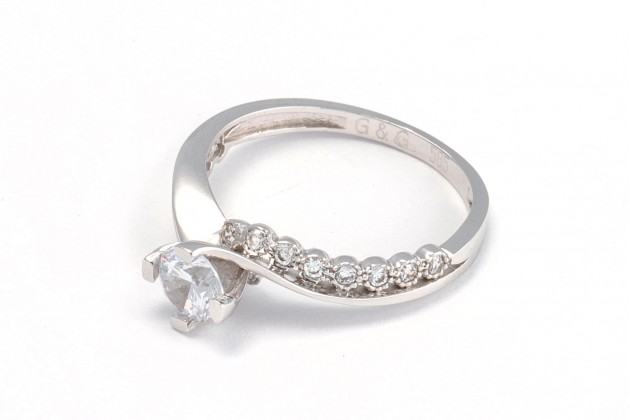 White gold and zircons engagement ring Breeze - Rings - GOLD Engagement rings
