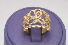 Golden butterfly ring with zircons
