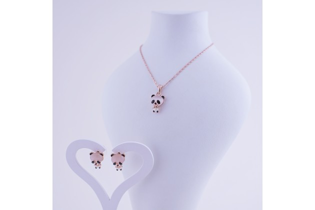 Necklace and earrings Panda - Jewelry Комплекти