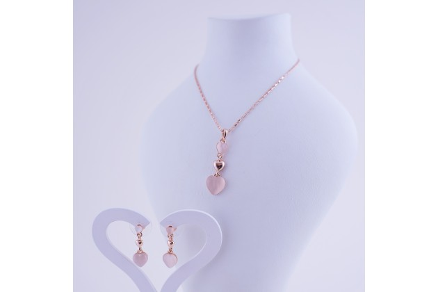 Necklace and earrings Hearts