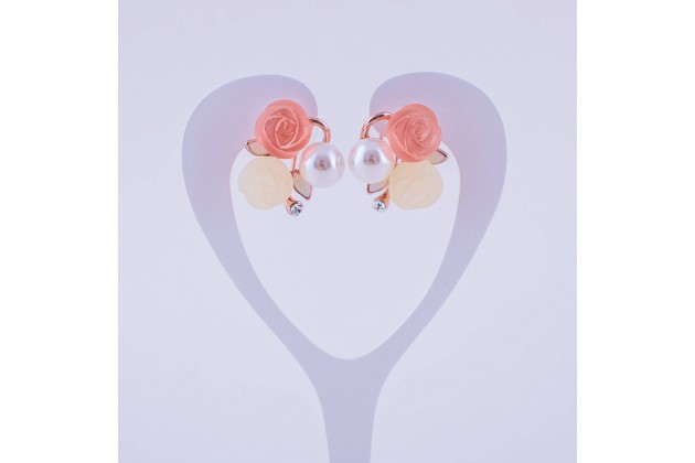 Rose and pearl earrings