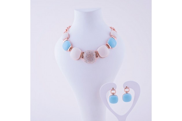 Blue and white earrings and necklace