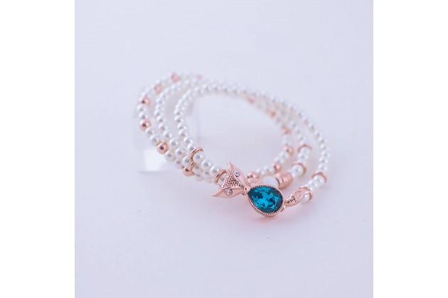 Owl pearl bracelet