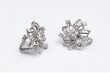 Silver earrings with zircons Edelweiss