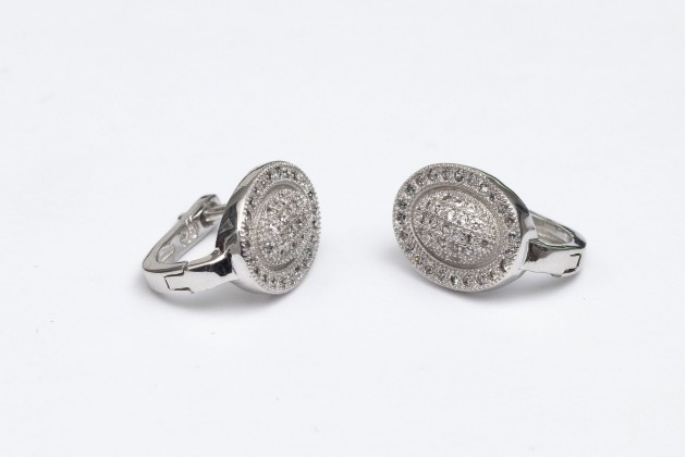 Classic design silver earrings with zircons