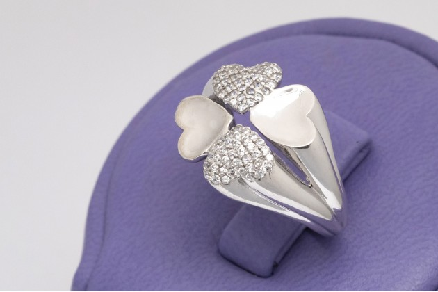 Four-leaf clover lucky silver ring