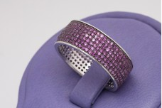 Silver band ring with rubies