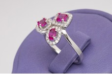 Trio Rubies silver ring