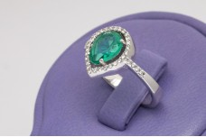 Spring drop green zircon ring