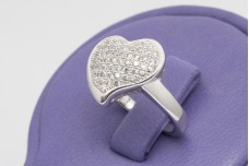 Heart shaped silver ring with zircons