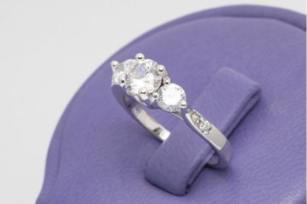 Silver Trinity ring with oval zircons