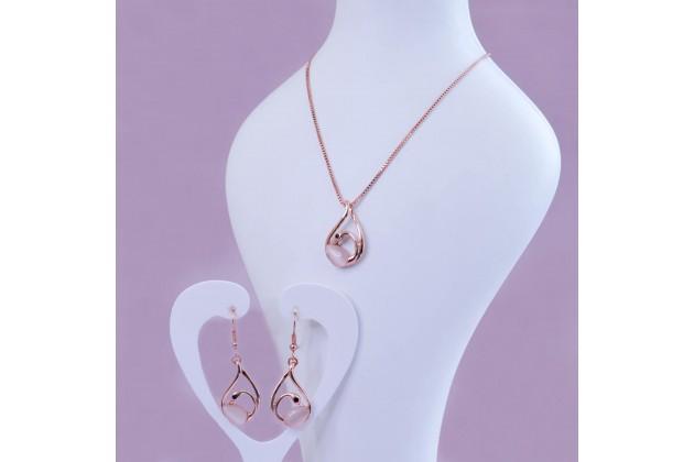 Quartz swan jewelry set