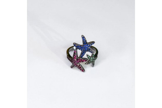 Sea stars ring with colorful crystals