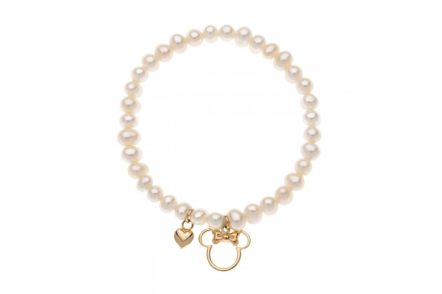 Minnie Mouse gold and pearls bracelet