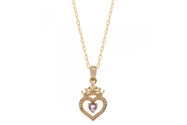 Heart of the Princess Disney gold necklace with pink sapphire