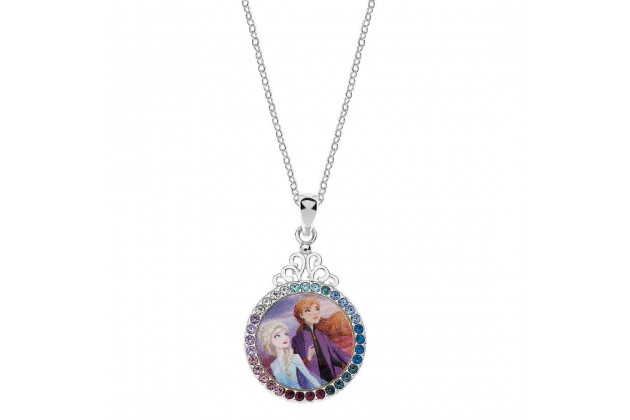 Silver necklace with crystals Elsa and Anna