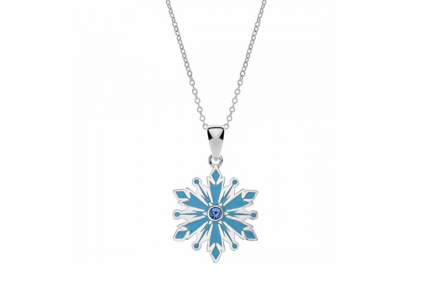 Silver and Blue Snowflake necklace