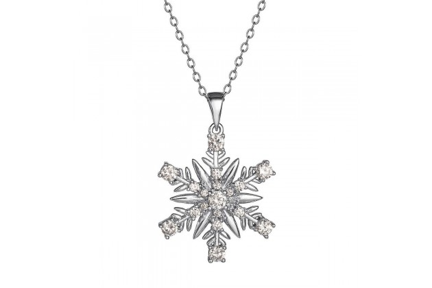 Sparkling Snowflake silver necklace with crystals