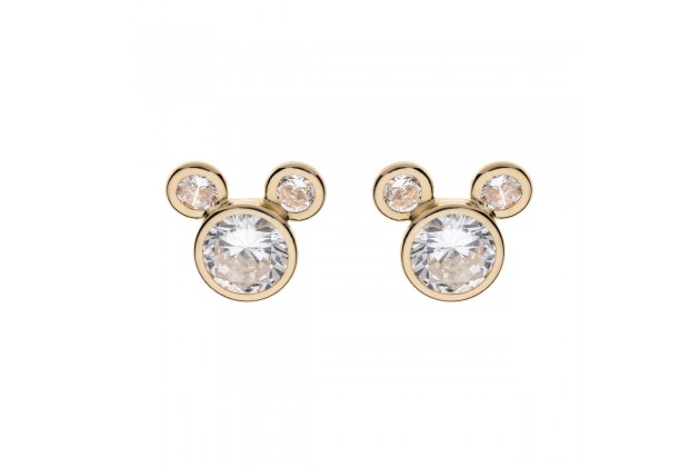 Mickey Mouse elegant gold and crystal earrings