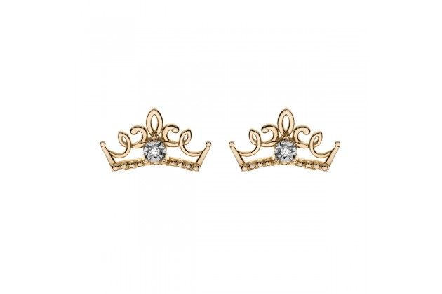 Gold earrings with diamonds Disney princess