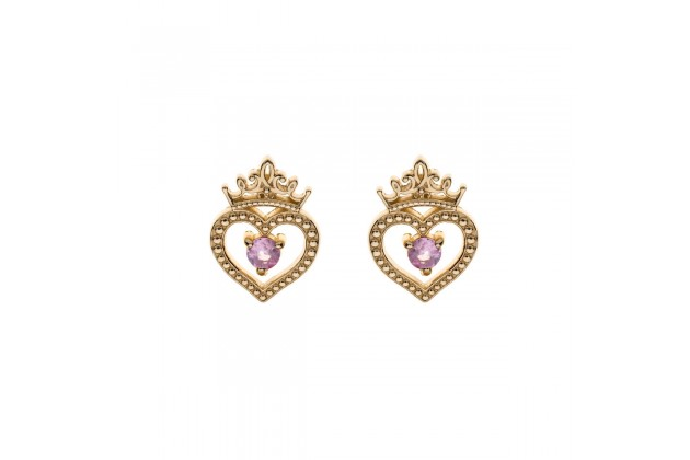 Heart of the Princess Disney gold earrings with pink sapphire