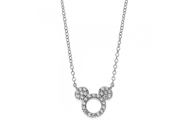 Mickey Mouse white crystal necklace