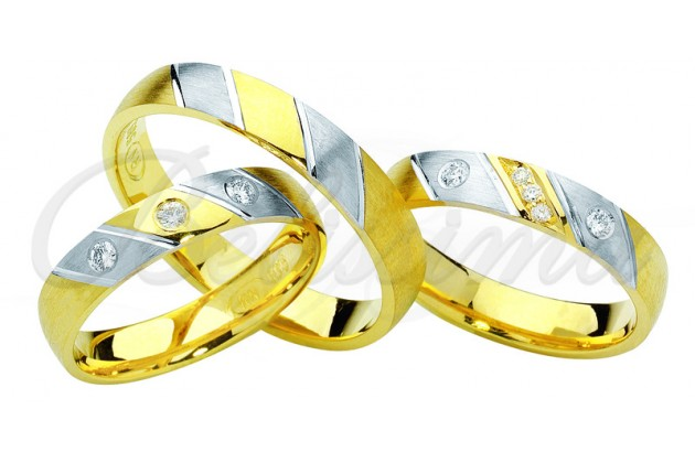 Брачни халки MARRY ME - Бяло злато жълто злато диагонали