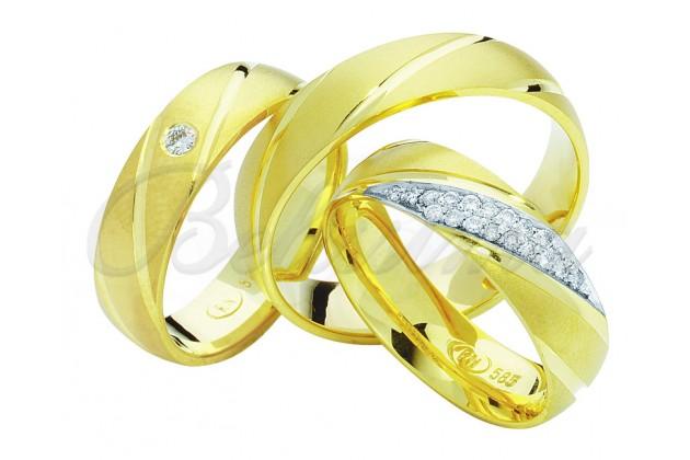 Брачни халки MARRY ME - Жълто злато диагонал