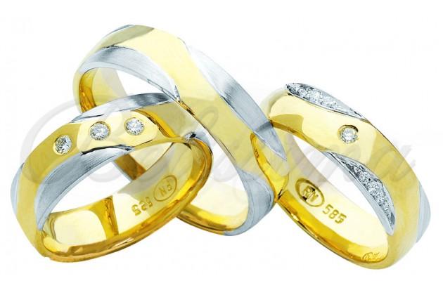 Брачни халки MARRY ME - Вълни бяло злато жълто злато