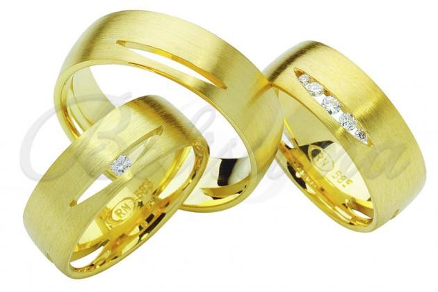 Брачни халки MARRY ME - Жълто злато камък