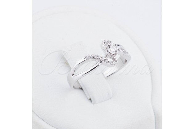 Fairy light white gold engagement ring with diamonds