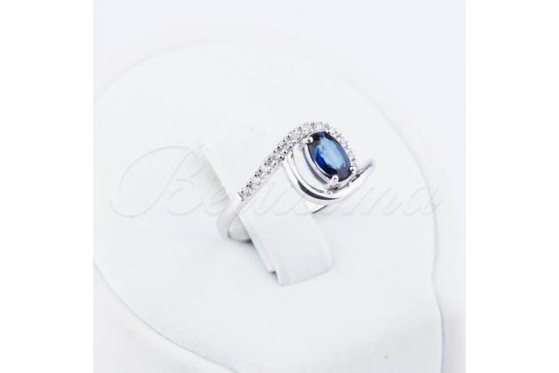 Blue eye sapphire and diamonds golden ring