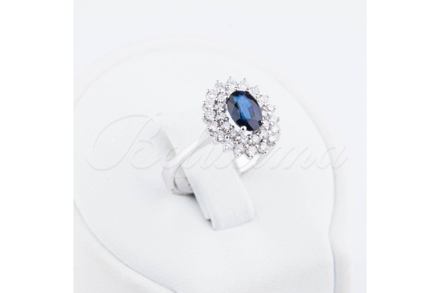 Diamonds and sapphire golden/engagement ring