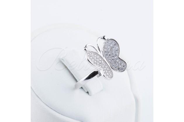Silver zircon ring Butterfly