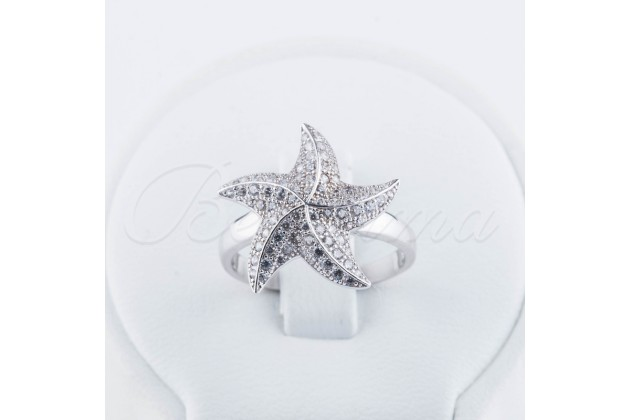 Silver zircon ring Starfish