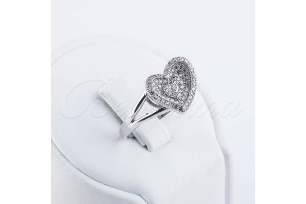 Silver zircon ring Heart