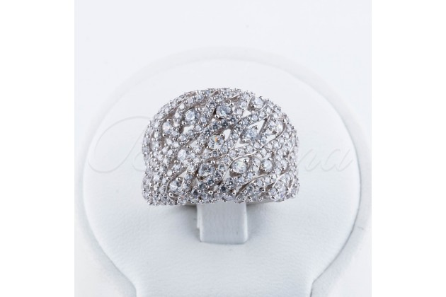 Silver zircon ring Safari