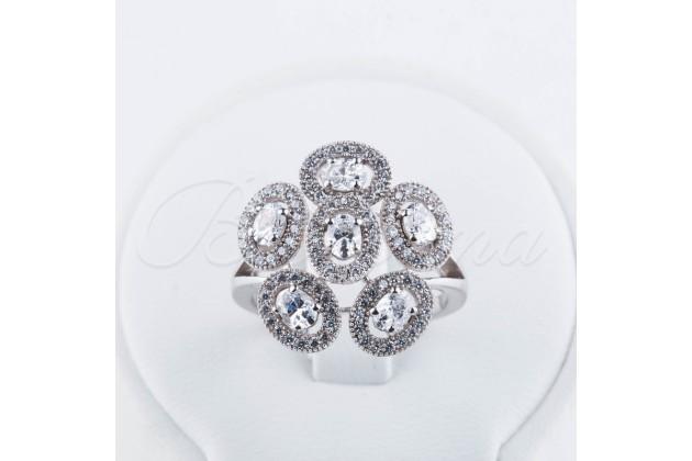 Silver zircon ring Flower - Rings - SILVER