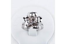 Silver zircon ring Exotic flower