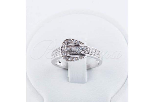 Silver zircon ring Buckle