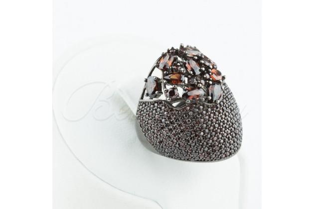 Designer silver ring with smoked quartz