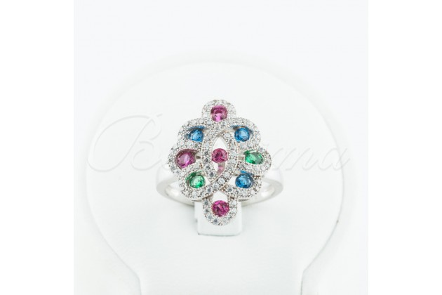 Silver ring with rubies, emeralds, sapphires and zircons - Rings - SILVER