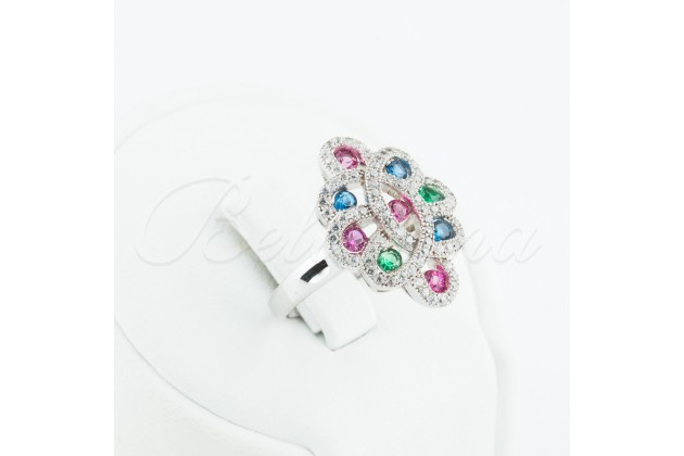 Silver ring with rubies, emeralds, sapphires and zircons