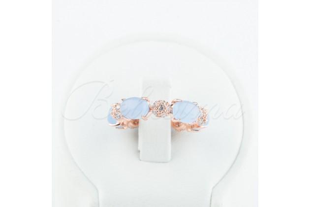 Silver quartz and zircon ring Aqua