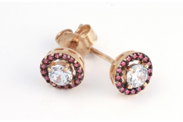 Earrings - Earrings - GOLD With zirconium Color stones